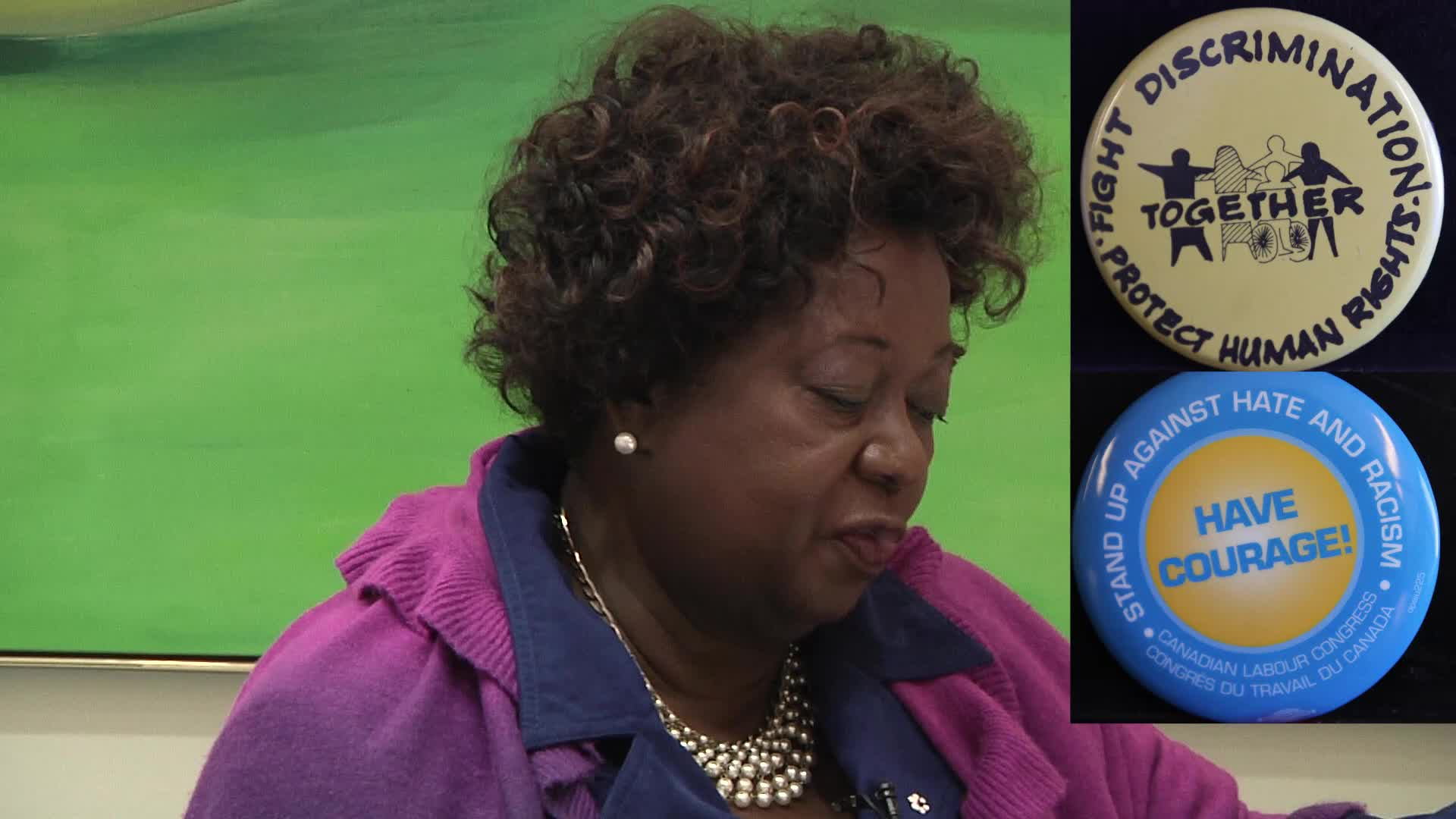 Jean Augustine interview: Anti-discrimination buttons