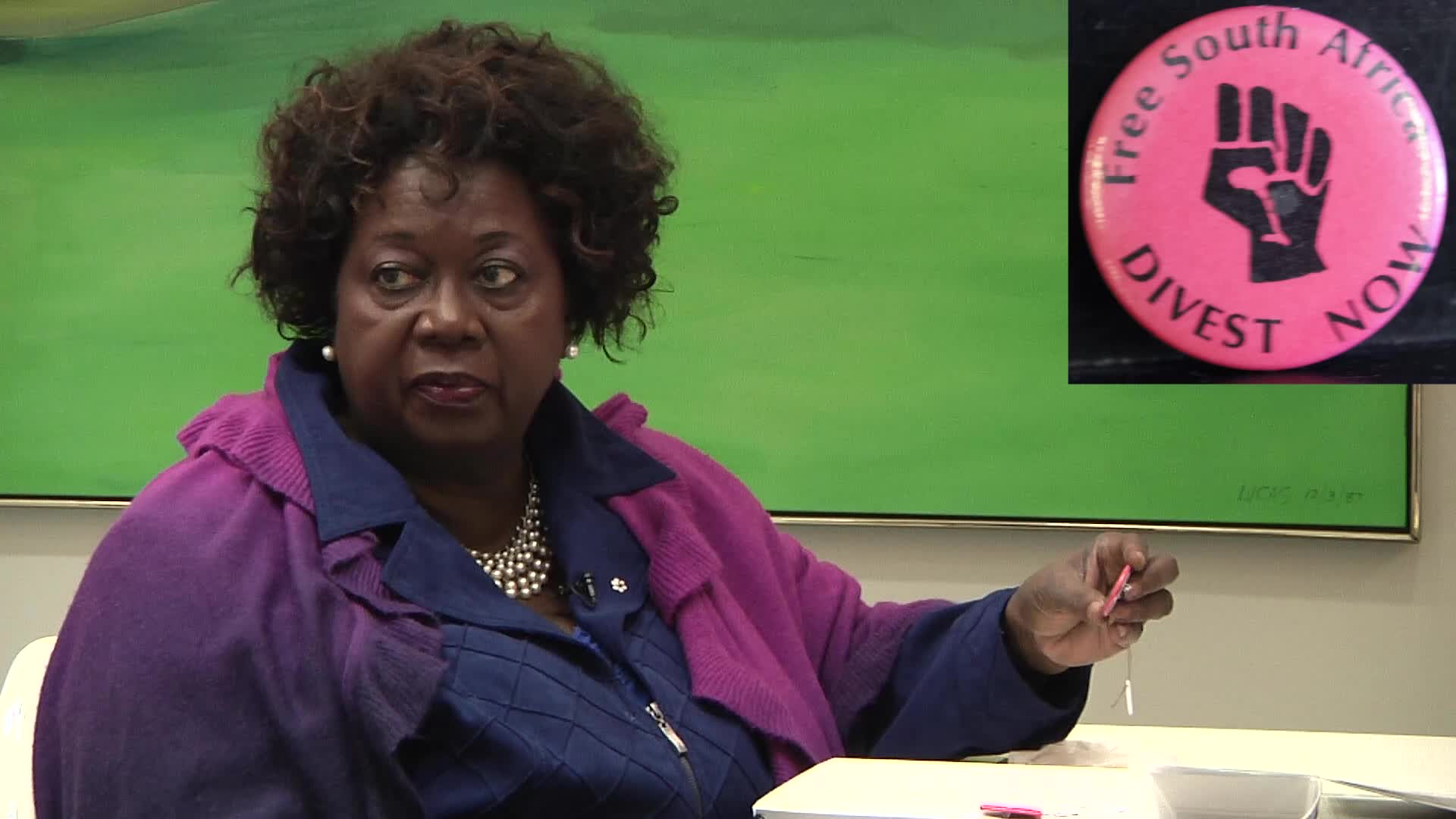 Jean Augustine interview: Free South Africa button