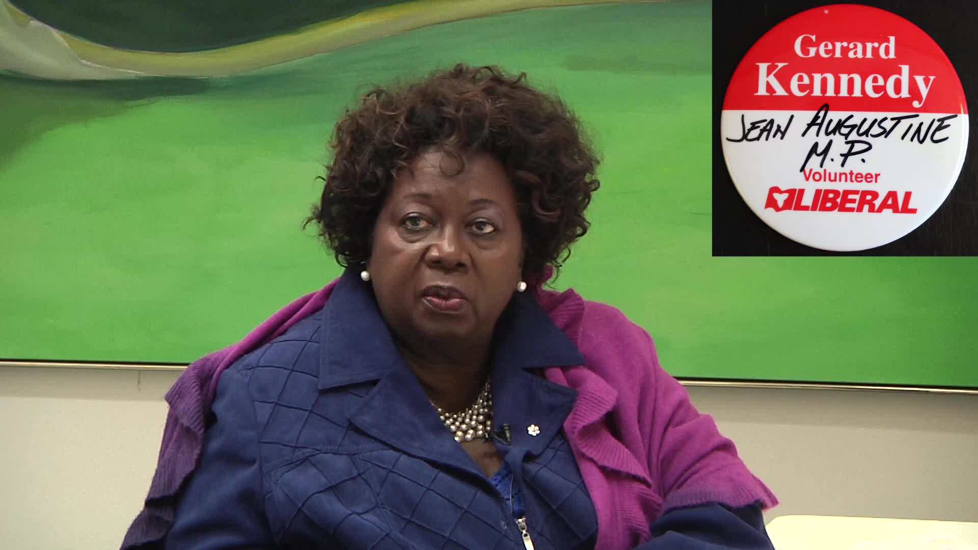 Jean Augustine interview: Gerard Kennedy volunteer button