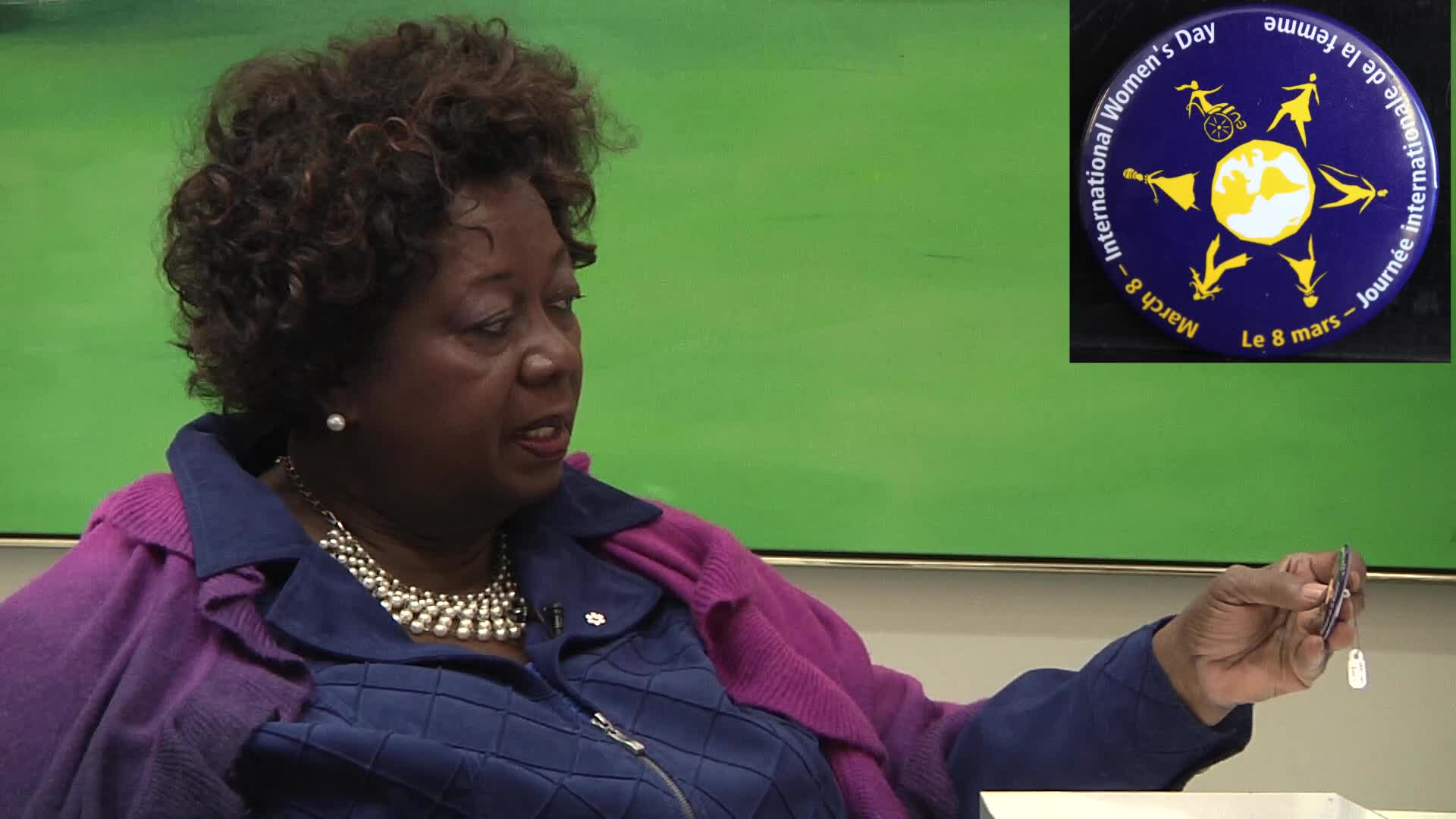 Jean Augustine interview: International Women's Day button