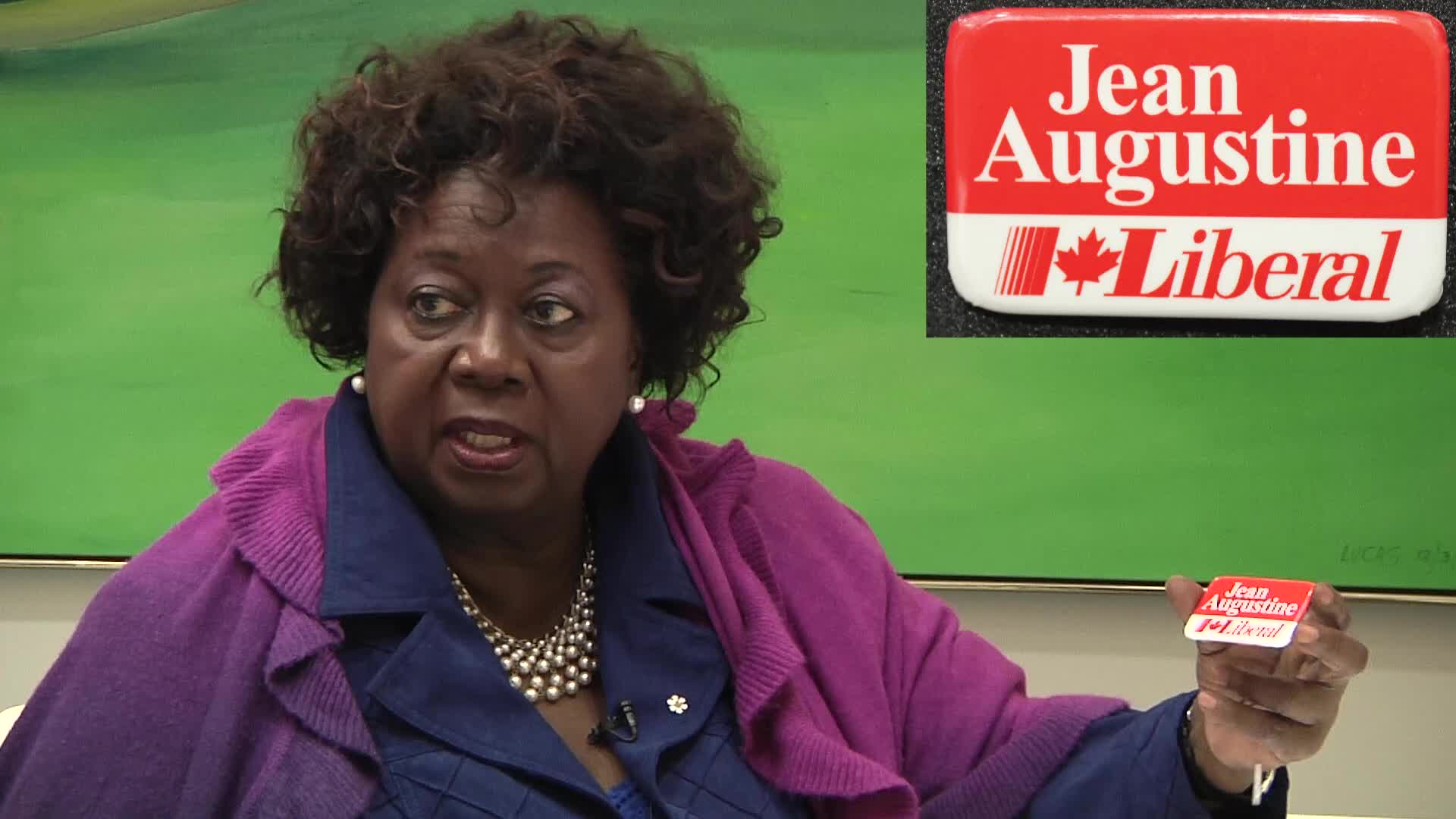 Jean Augustine interview: 1993 Jean Augustine campaign button