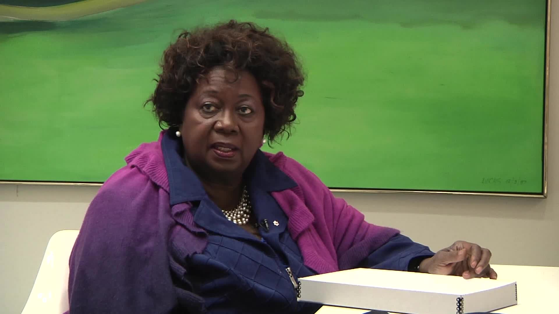 Jean Augustine interview: Justice for Albert Johnson button