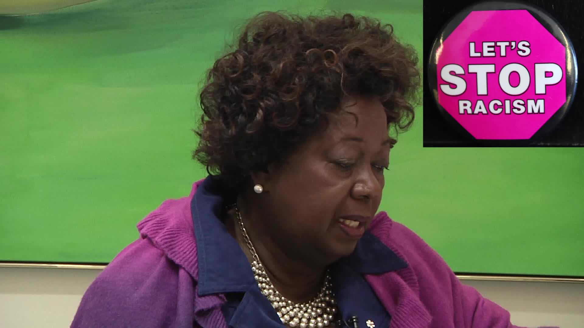 Jean Augustine interview: Let's Stop Racism button