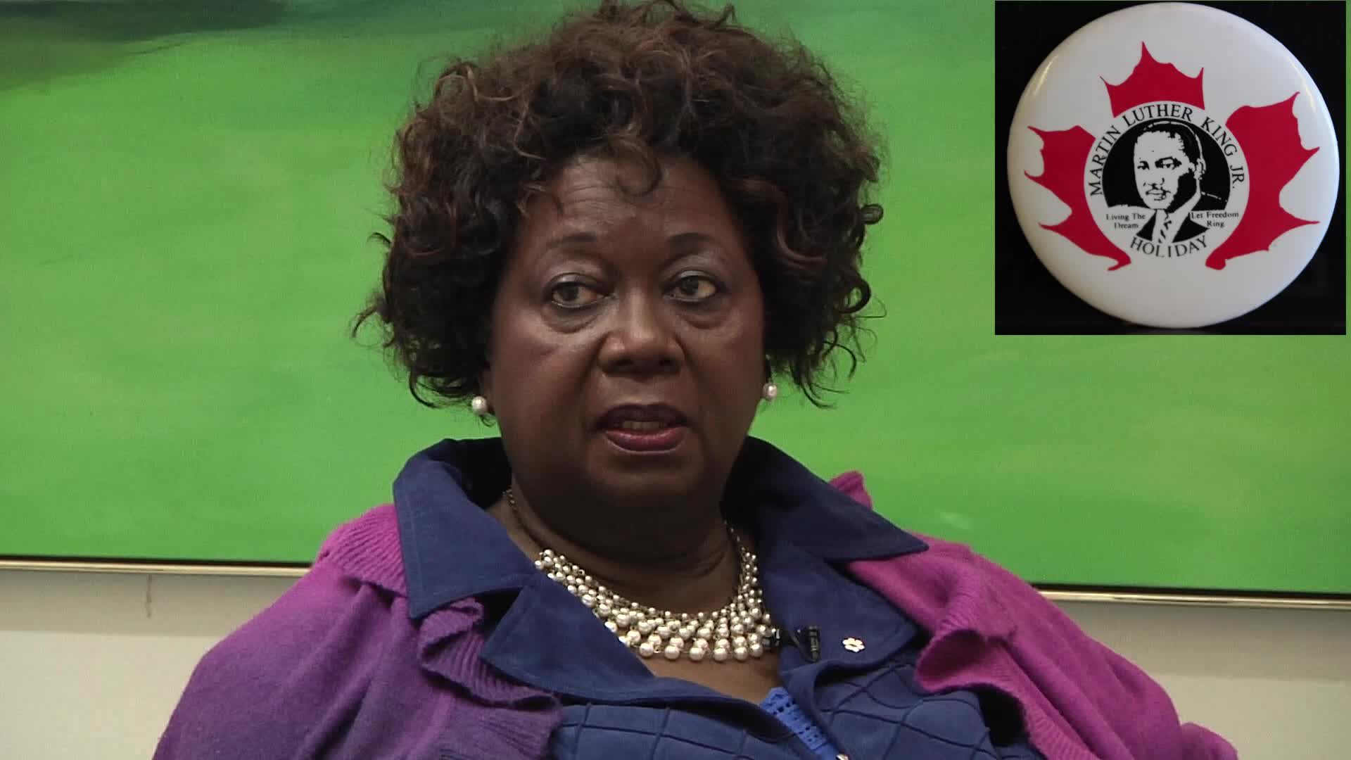 Jean Augustine interview: Martin Luther King Jr. holiday in Canada button