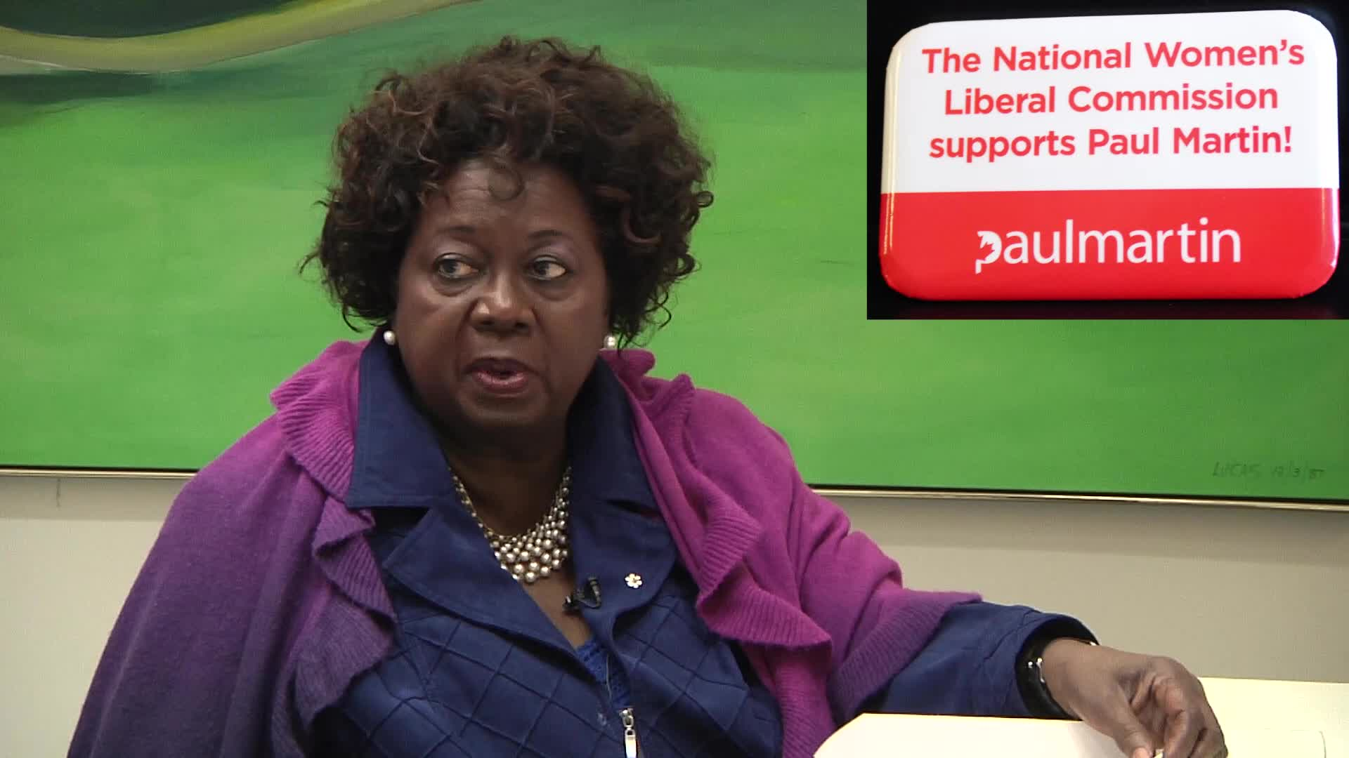 Jean Augustine interview: National Women's Liberal Commission supports Paul Martin button