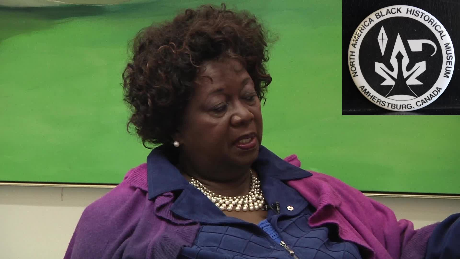Jean Augustine interview: North American Black Historical Museum button