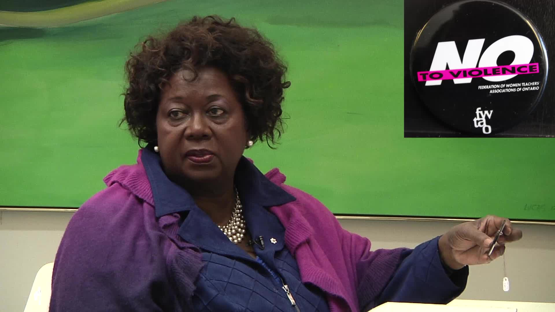 Jean Augustine interview: No to violence button
