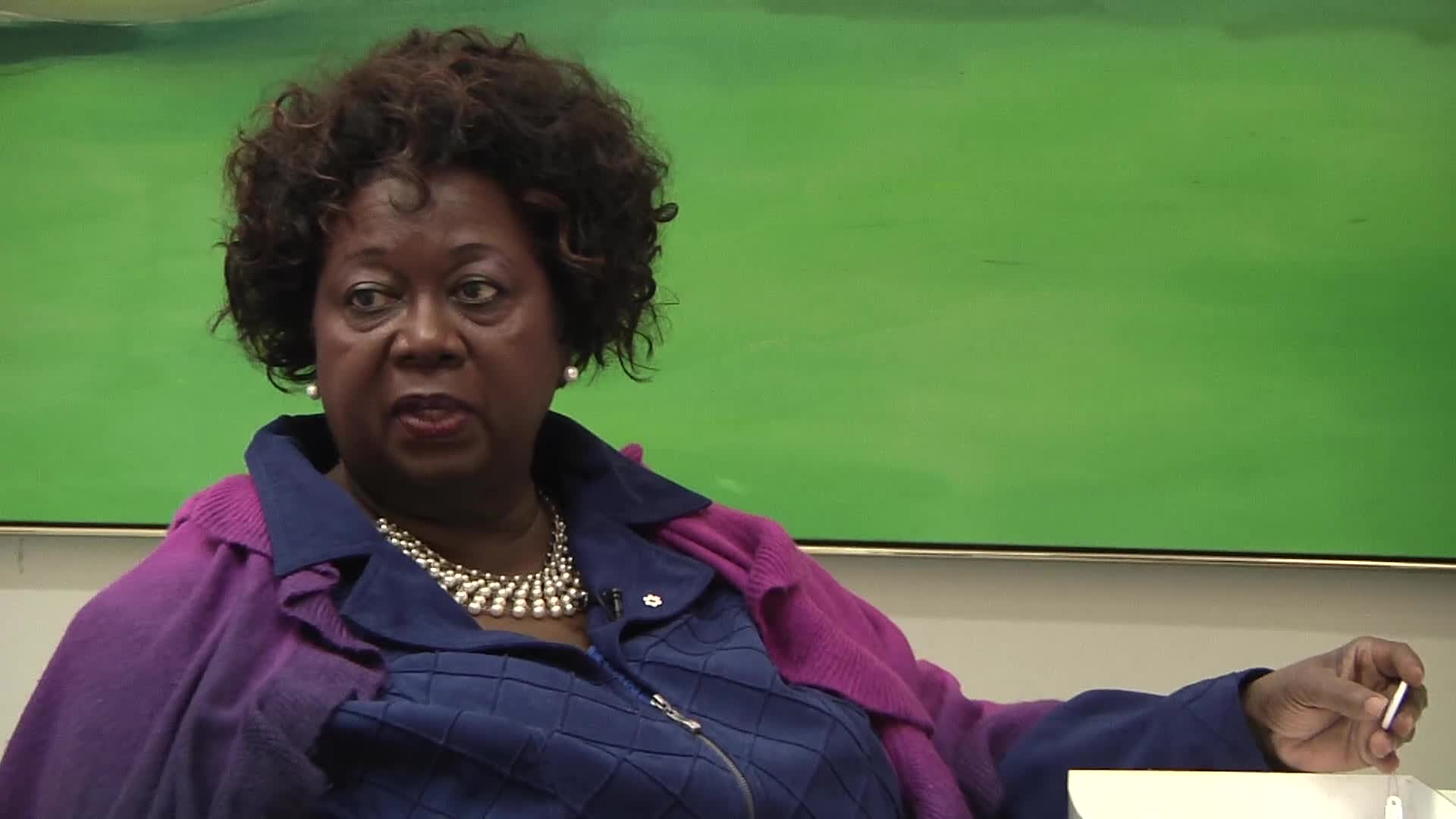 Jean Augustine interview: United Nations International Women's Decade button