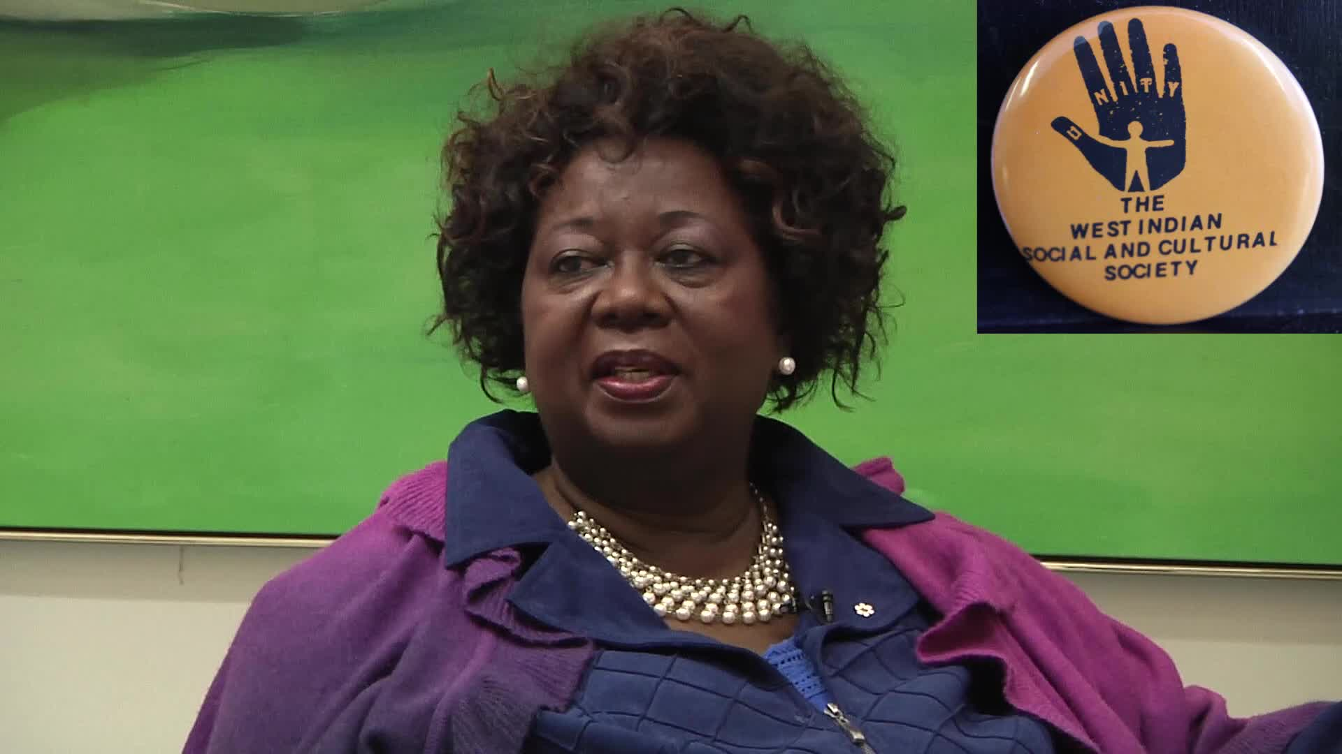 Jean Augustine interview: West Indian Social and Cultural Society button