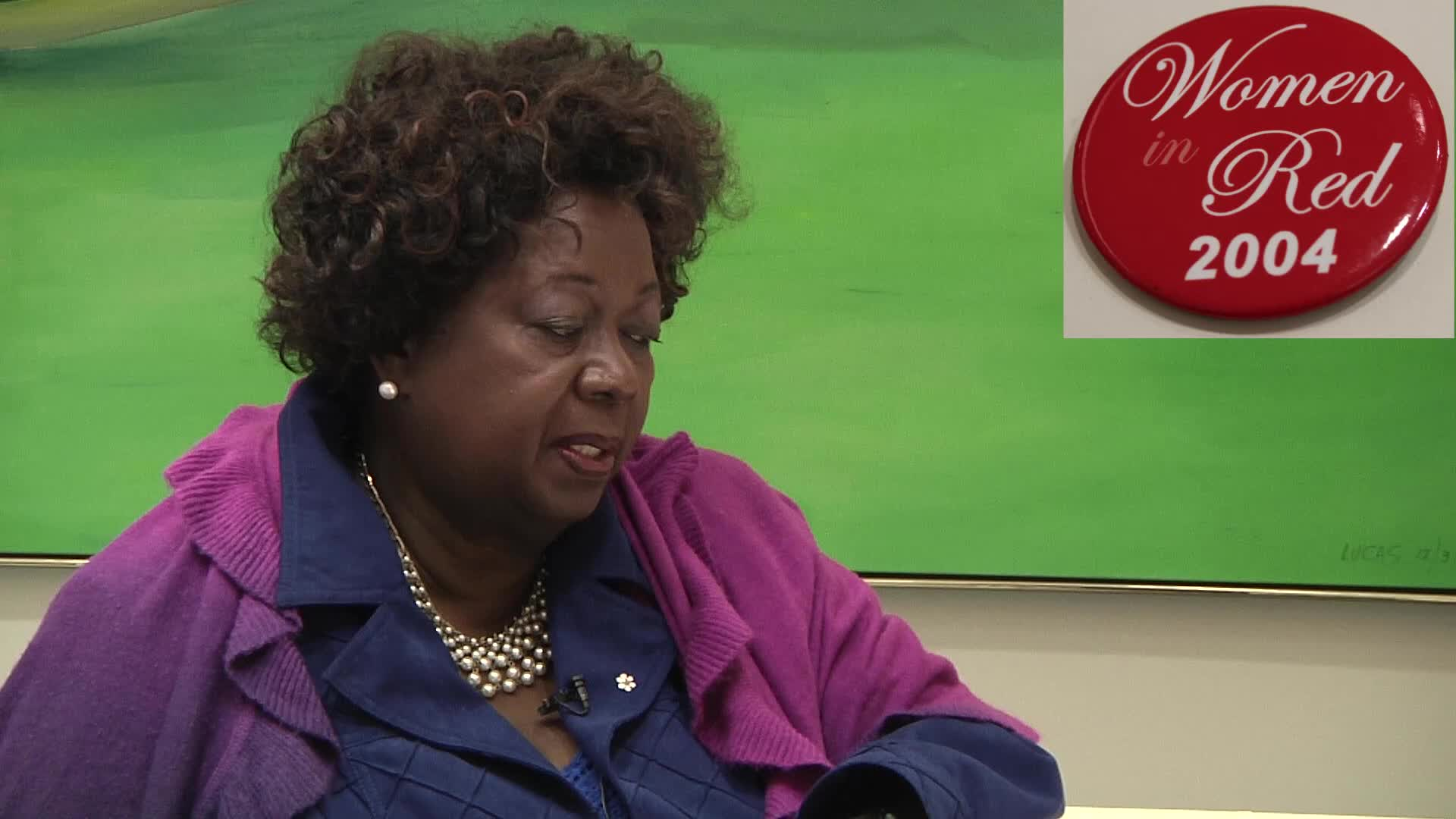 Jean Augustine interview: Women in Red 2004 button
