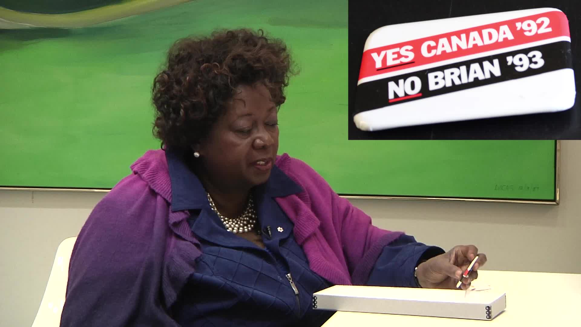 Jean Augustine interview: Yes Canada 92, No Brian 93 button