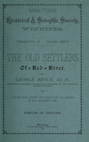 The old settlers of Red River