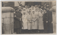 Group portrait of nurses, staff and officers of American Y.M.C.A., Plymouth