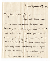 Letter from Vivien Beer to James Allan, September 11th 1916