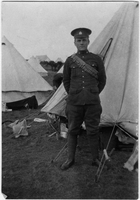 Photograph of  soldier at camp
