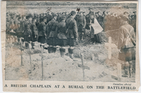 "Newspaper clipping: ""A British Chaplain at a Burial on the Battlefield"""