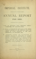 Imperial Institute annual report for 1893
