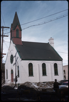 Angled view of a German Baptist church, Alexander Avenue