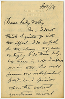 Letter to VW from Miss D. Beale January 1889