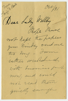 Letter to VW from Miss D. Beale October 1891