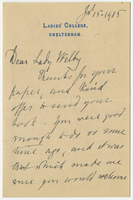 Letter to VW from Miss D. Beale 15 July 1905