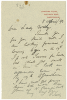 Letter to VW from James Sully 8 April 1892