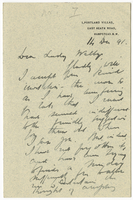 Letter to VW from James Sully 14 December 1891
