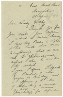 Letter to VW from James Sully 26 April 1892