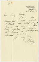 Letter to VW from James Sully 22 January 1896