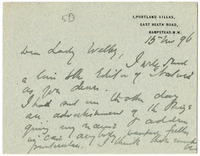 Letter to VW from James Sully 15 November 1896