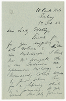 Letter to VW from James Sully 12 February 1903