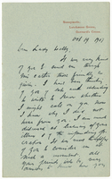 Letter to VW from James Sully 19 October 1907