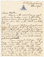 Letter to Mrs. Stepler from Gordon Stepler, March 11th 1917