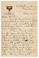 Letter to Mrs. Stepler from Gordon Stepler, March 19th 1917
