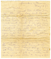 Letter to Mrs. Stepler from Gordon Stepler, May 12th 1917