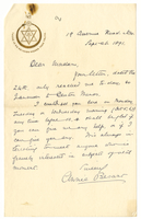 Letter to VW from Annie Besant 26 September 1891