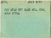 Cats : For Negs See Dogs Neg. Env. July 4/70