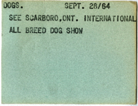 Dog : See Scarboro, Ont. Internartional All Breed Dog Show