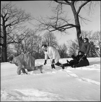 Image of the Dirty Shames rock band playing and laughing in the snow in Queen's Park.