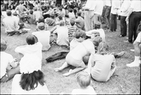 Image of a crowd sitting on the grass with their backs towards the camera at a love-in in Queen's Park.