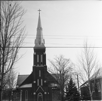 Image of the front of Sainte Croix Roman Catholic Church in Lafontaine, Ont.