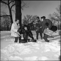 The Dirty Shames rock band playing in the snow winter time in Queen's Park.