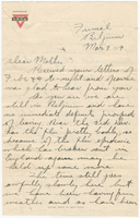 Letter to Mrs. Stepler from Gordon Stepler, March 3rd 1919