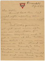 Letter to Mrs. Stepler from Gordon Stepler, April 8th 1919