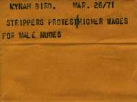 Mynah Bird : Strippers protest higher wages for male nudes