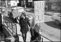 Women picketing in front of the Mynah Bird coffeehouse in Yorkville protesting higher wages for male nude staff.