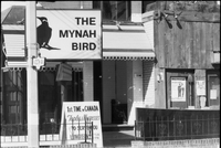 Image of the entrance to the Mynah Bird coffeehouse in Yorkville.