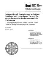 International Experiences in Setting Medium and Long-Term Targets for Greenhouse Gas Emissions and Air Pollutants:Scoping Paper