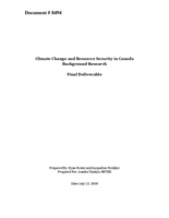 Climate Change and Resource Security in Canada Background Research: Final Deliverable