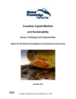 Canadian Capital Markets and Sustainability: Issues, Challenges and opportunities